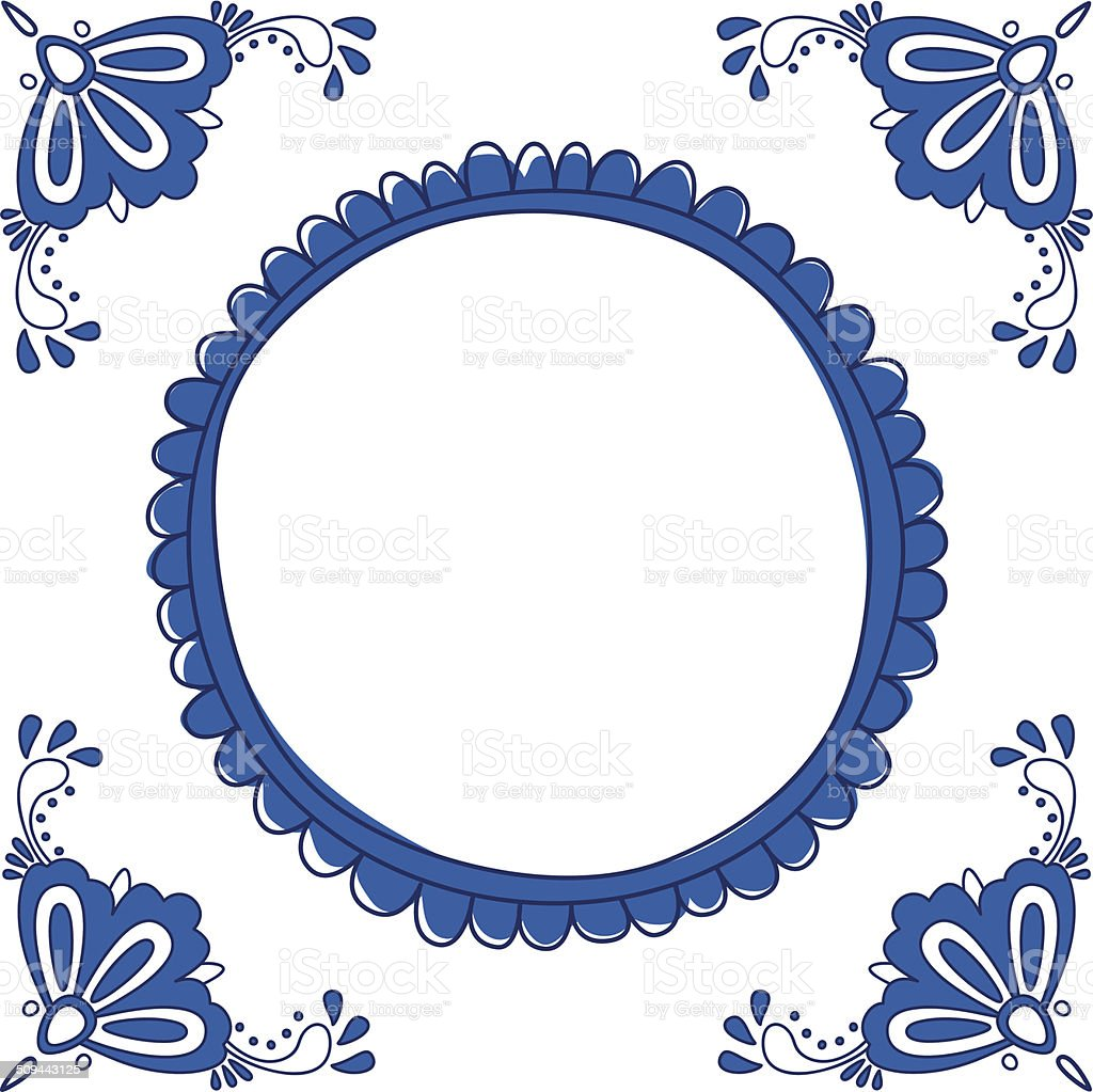 Dutch Delft blue tile with a place for text vector art illustration
