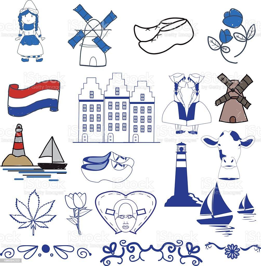 dutch design elements vector art illustration
