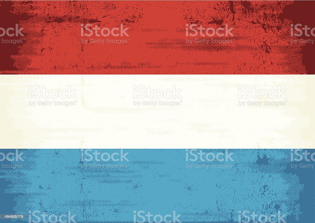 Dutch grunge flag vector art illustration