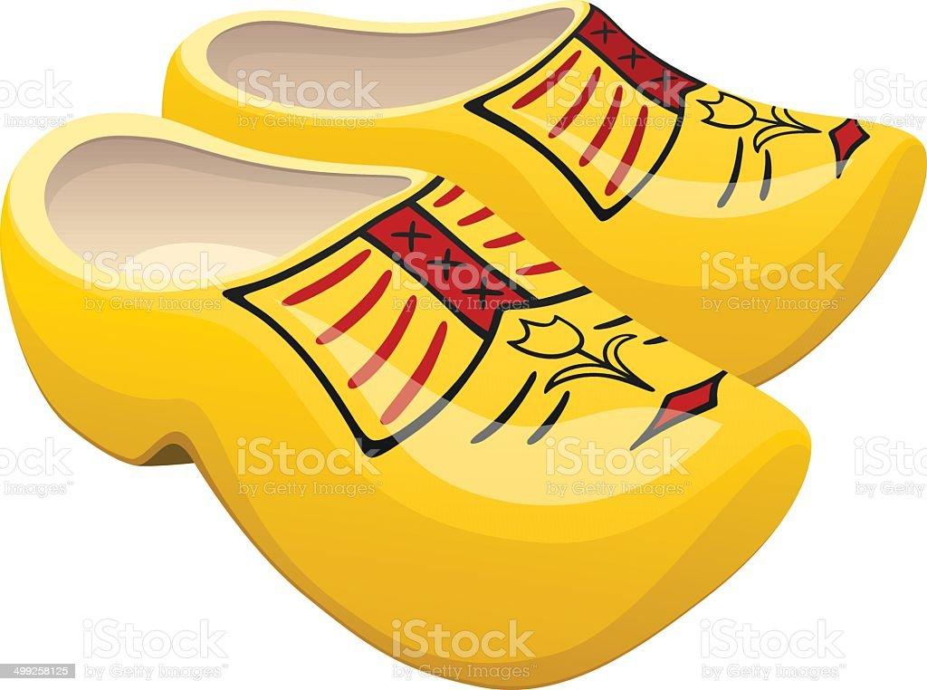 Dutch Wooden Shoes vector art illustration
