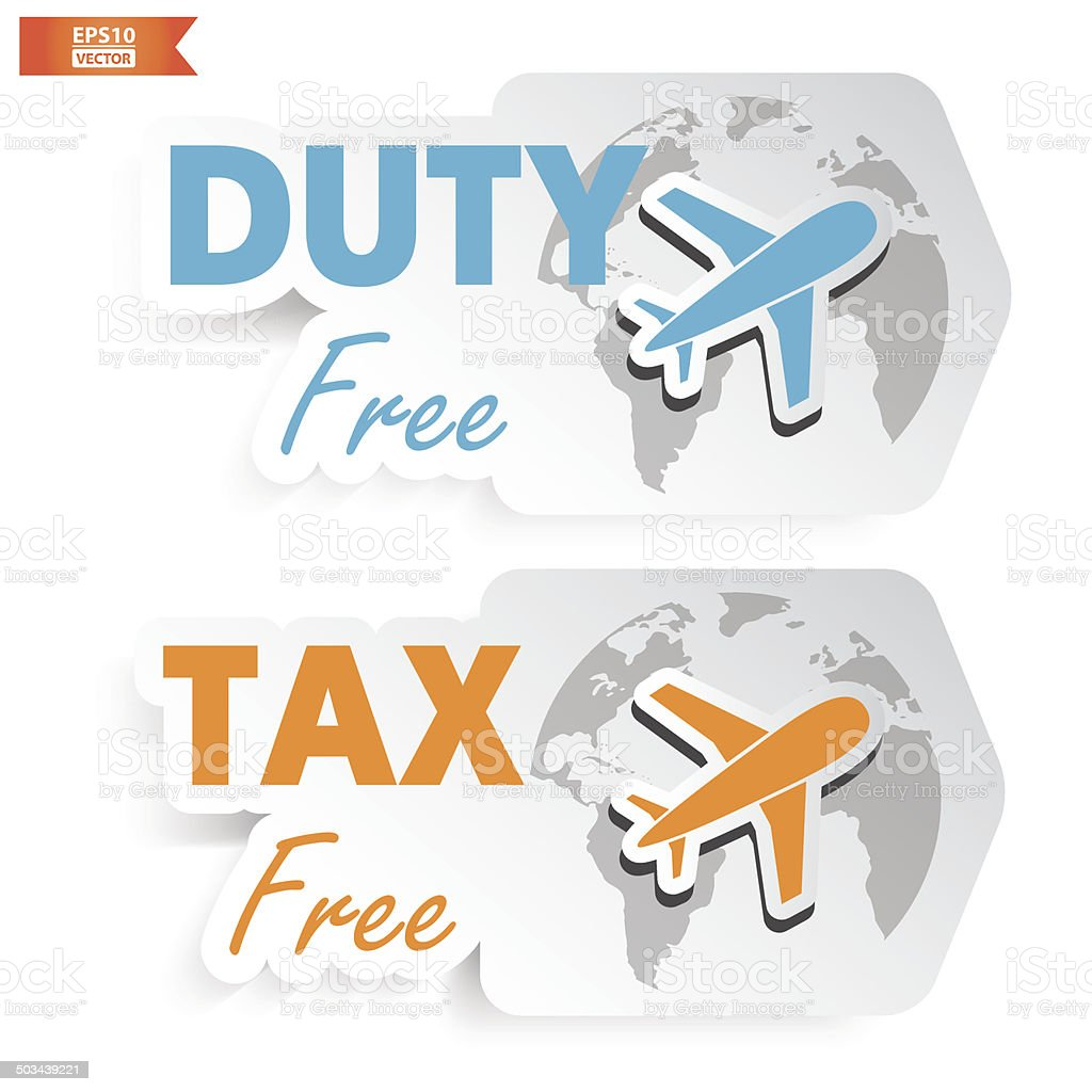 Duty Free, Tax Free Signs or Symbols.-eps10 vector royalty-free stock vector art