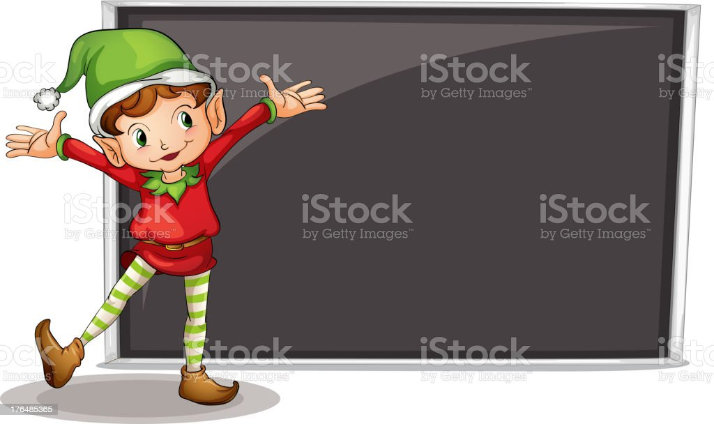 dwarf standing at the left side of an art board royalty-free stock vector art