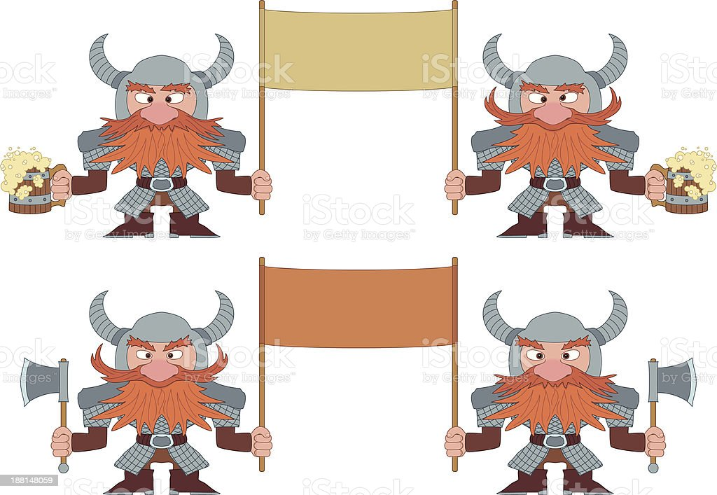 Dwarfs with banners, set royalty-free stock vector art