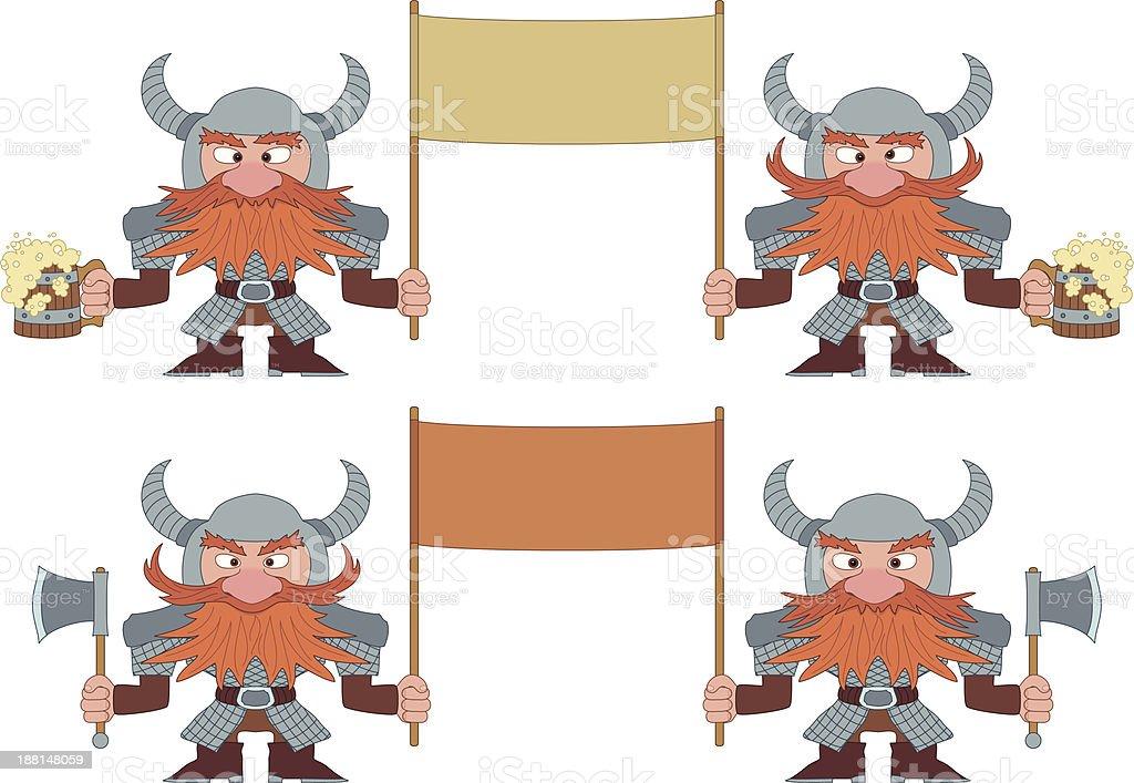 Dwarfs with banners, set vector art illustration