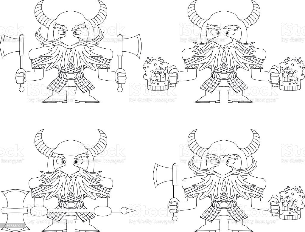 Dwarfs with beer mugs and axes, outline vector art illustration