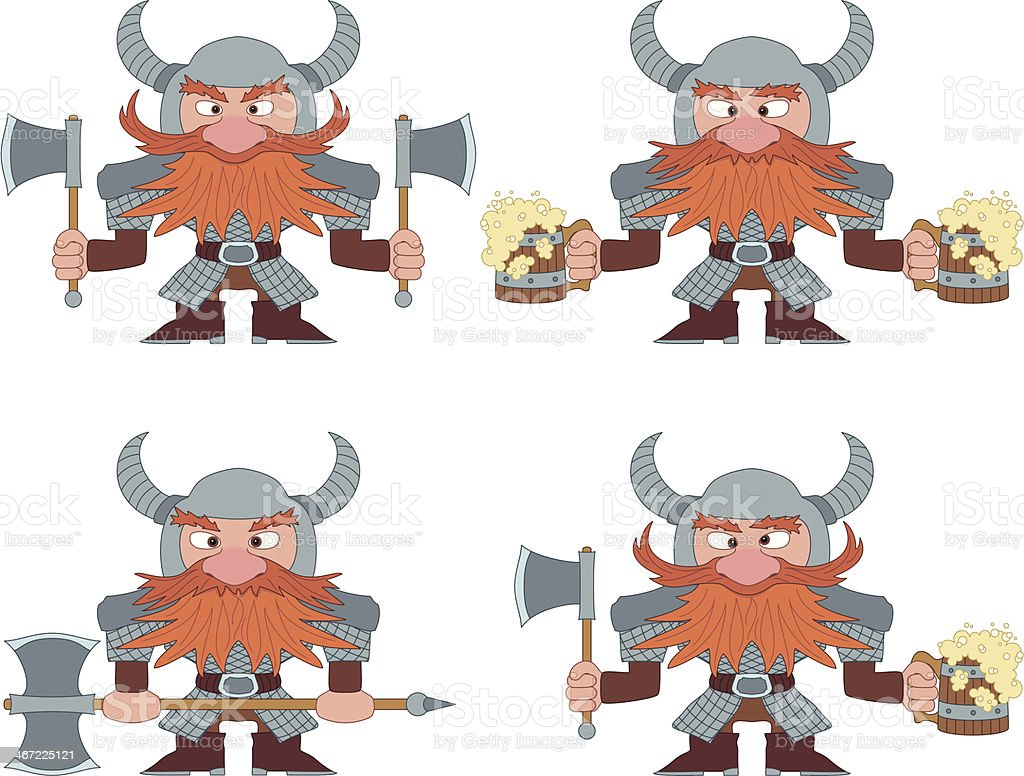 Dwarfs with beer mugs and axes, set vector art illustration
