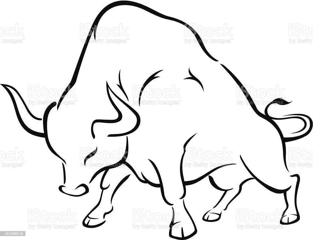 Dynamic Bull Sketch royalty-free stock vector art