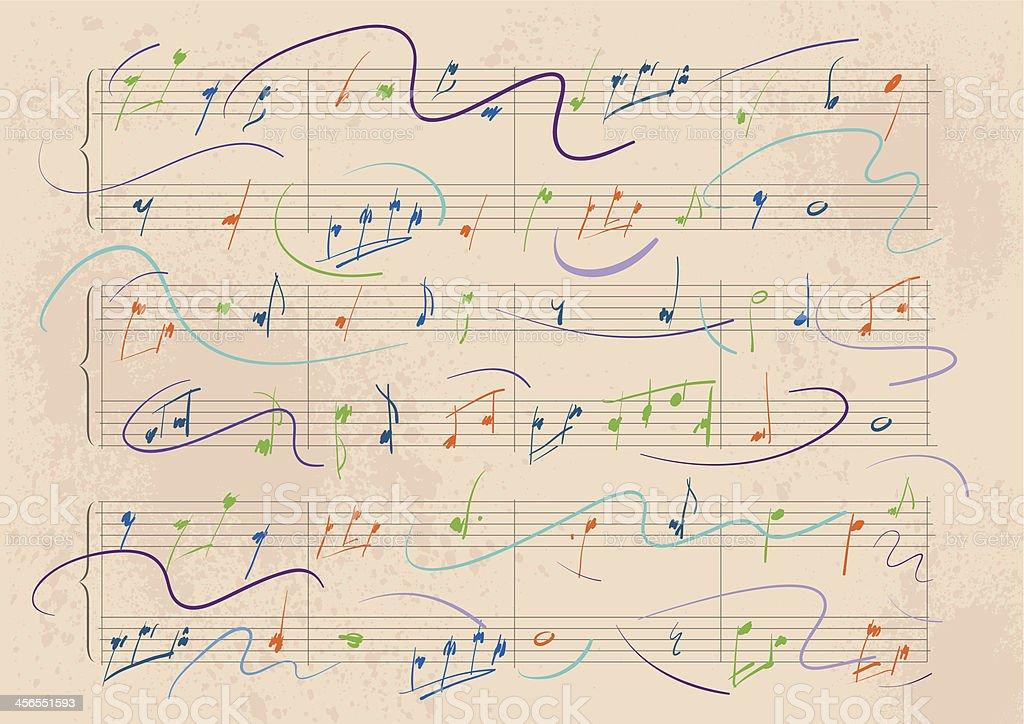 Dynamic Musical Score vector art illustration