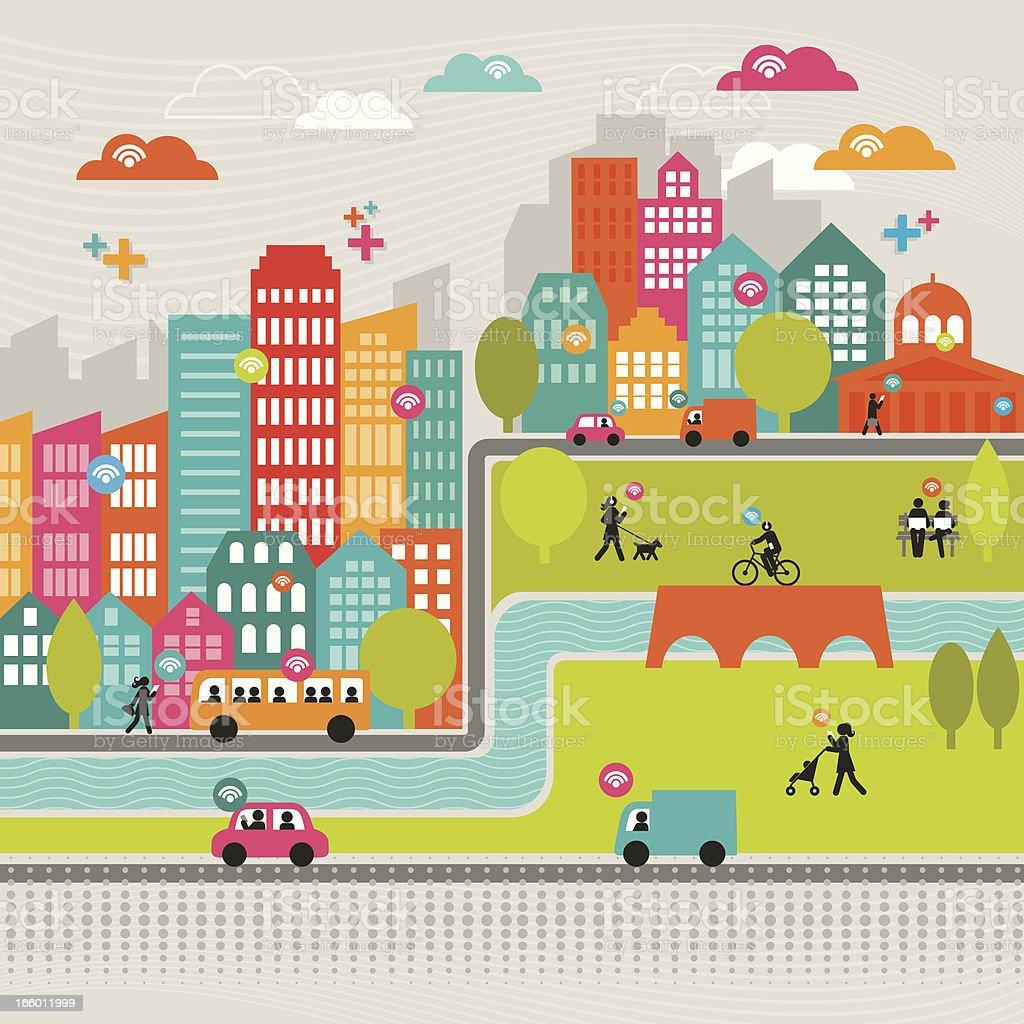 Dynamic Urban Network royalty-free stock vector art