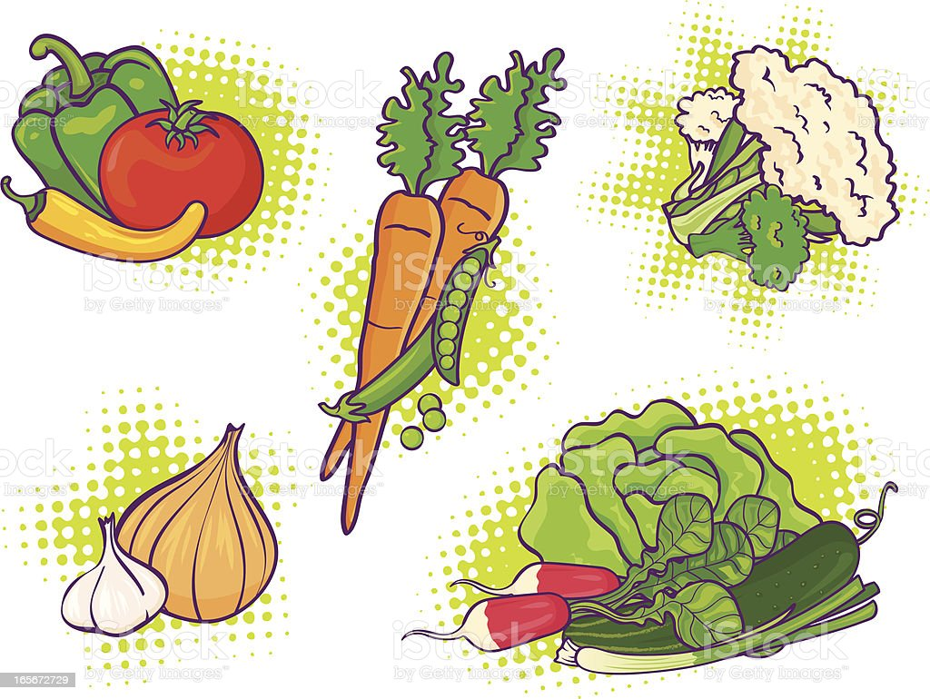 dynamic vegetables royalty-free stock vector art