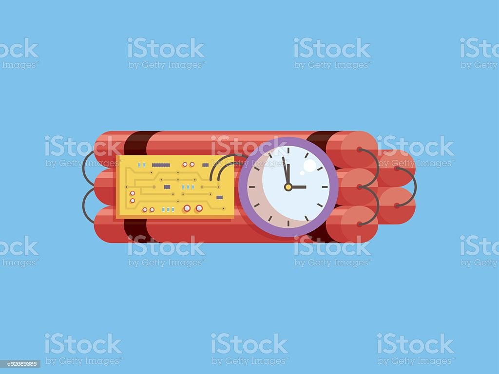 Dynamite and analogue timer set, countdown to deadline, flat design vector art illustration