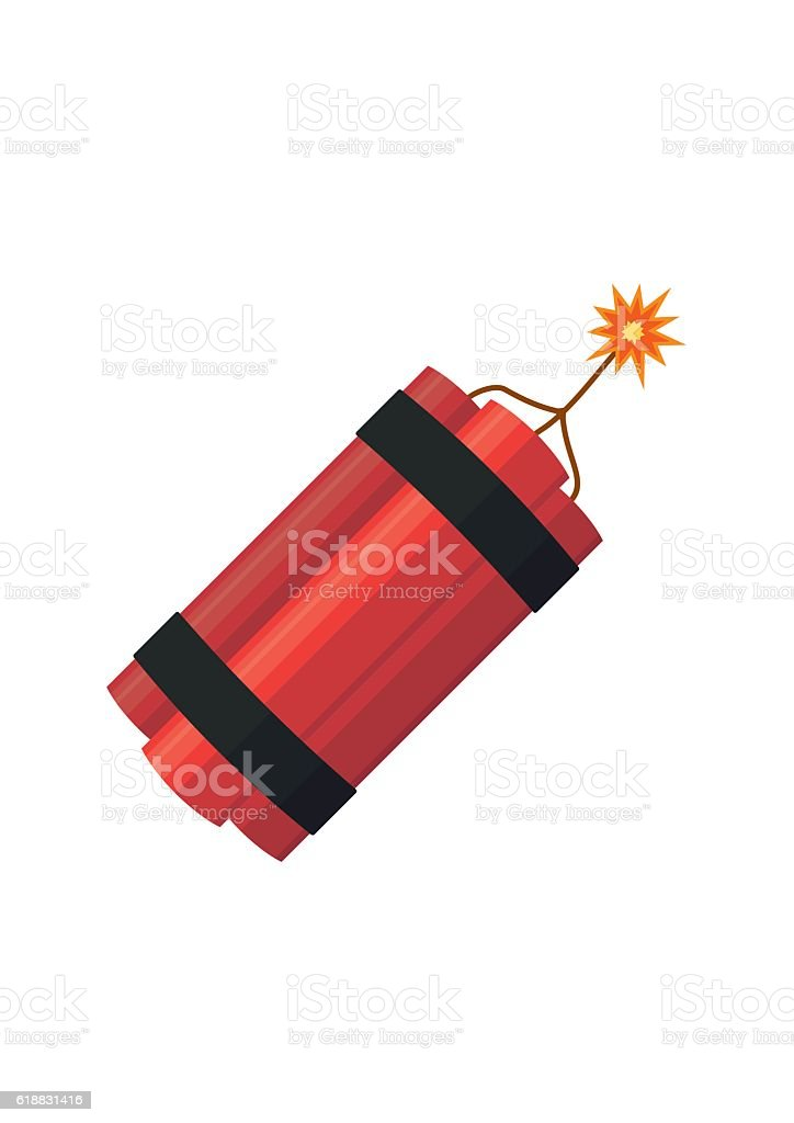 Dynamite bomb explosion with burning wick detonate. Aggression terrorism. vector art illustration