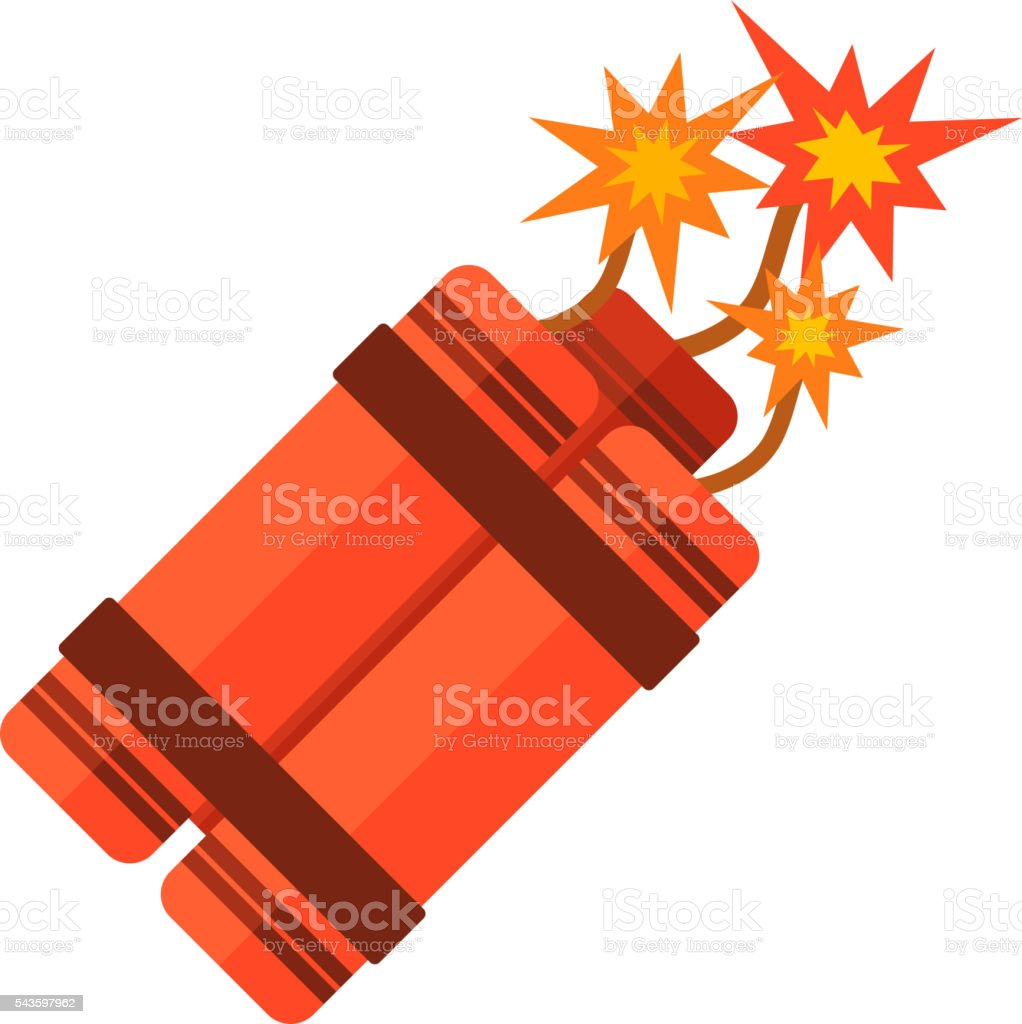 Dynamite bomb flat vector. vector art illustration