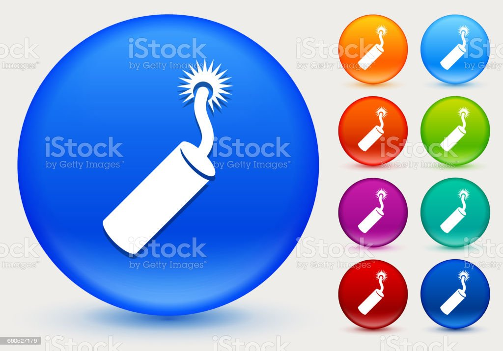 Dynamite Icon on Shiny Color Circle Buttons vector art illustration