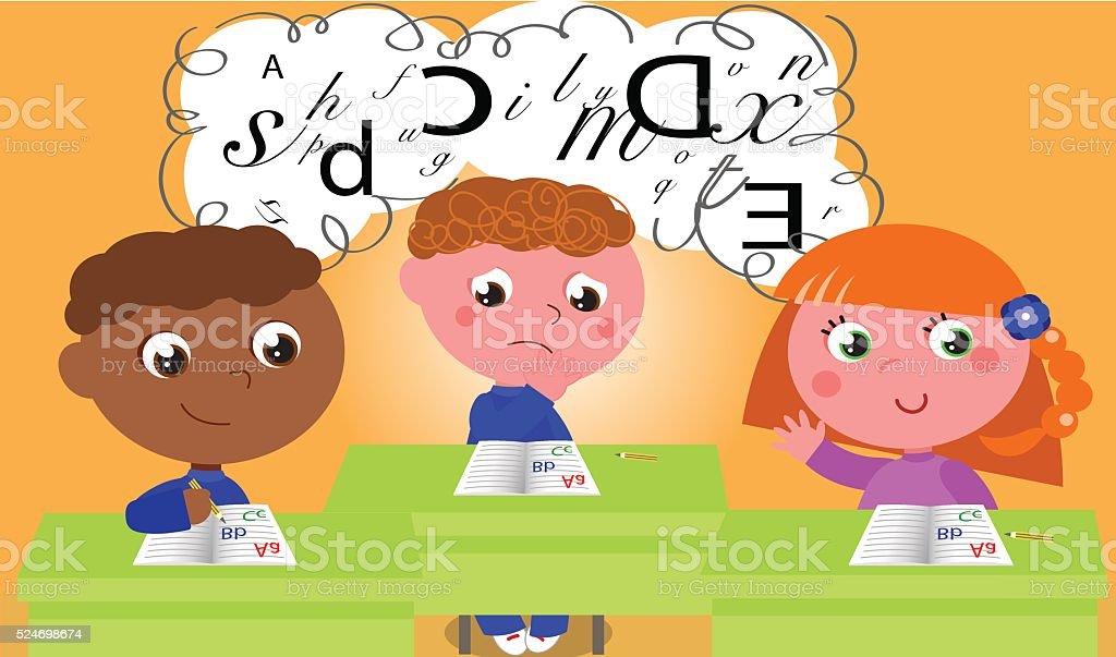 Dyslexia vector art illustration