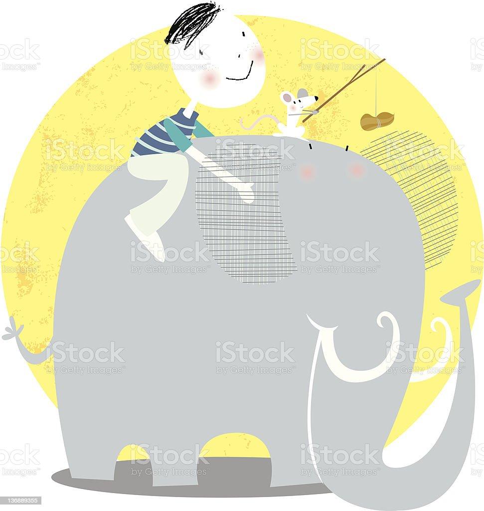 e for elephant vector art illustration