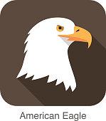 eagle bear face flat icon design. Animal icons series.