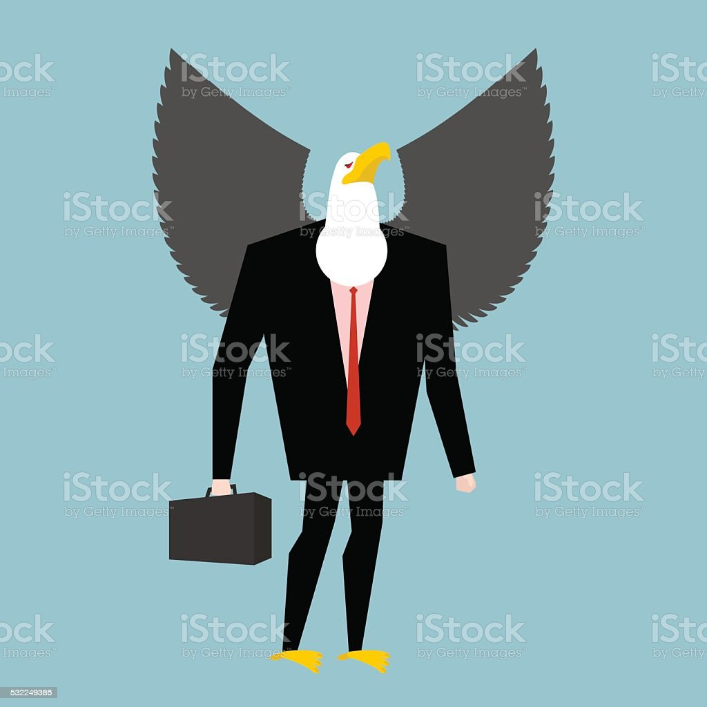 Eagle businessman. business bird in suit. Winged black manager i vector art illustration
