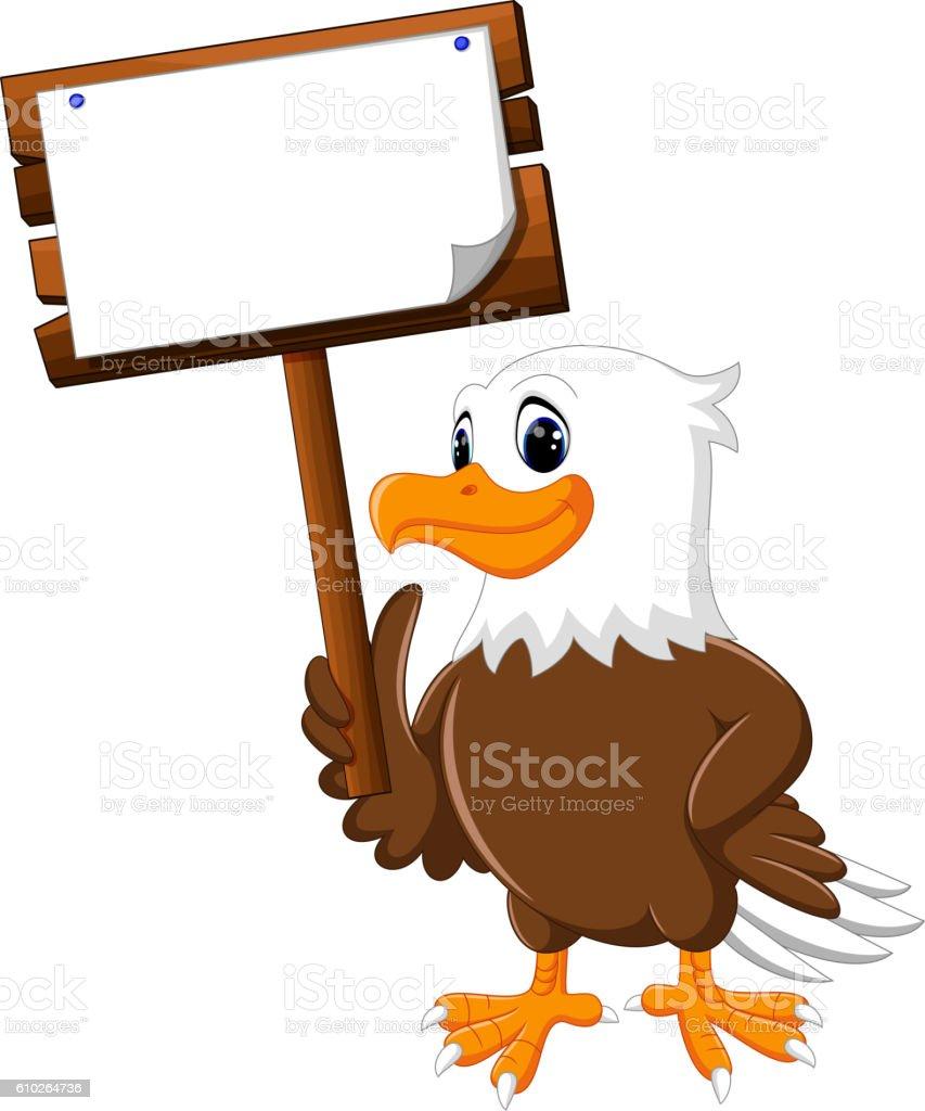Eagle cartoon posing vector art illustration