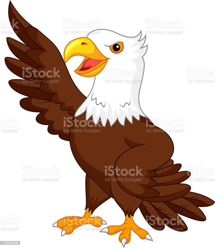 Eagle cartoon waving vector art illustration