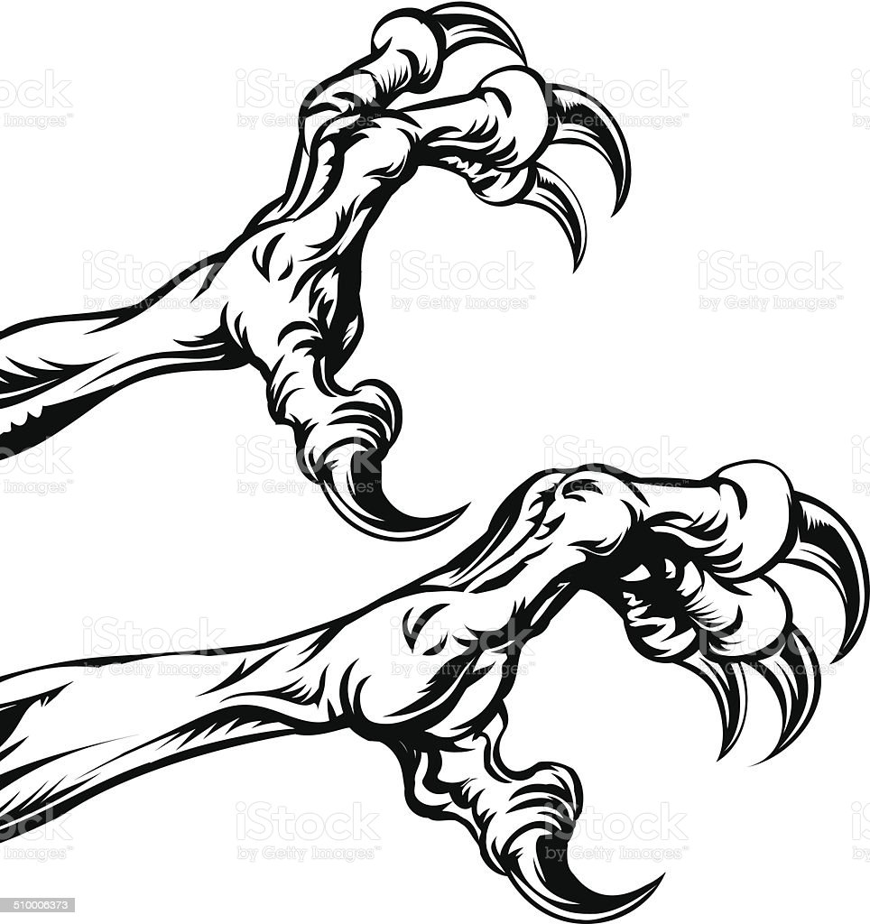 Eagle claws vector art illustration