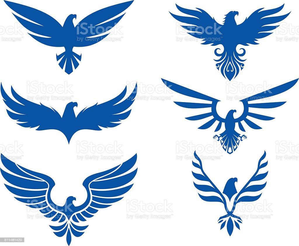 Eagle design set vector art illustration