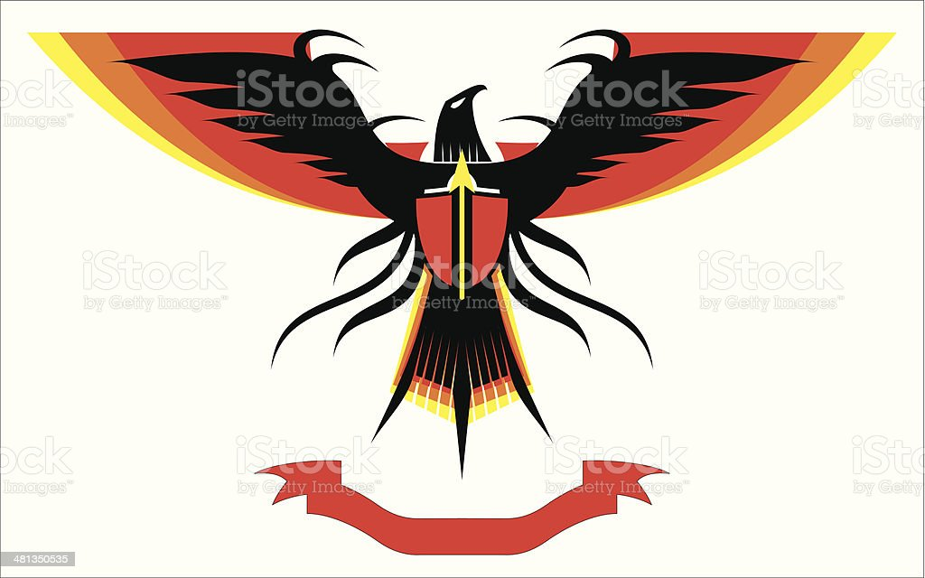 Eagle. Falcon with the extended colorful wings vector art illustration