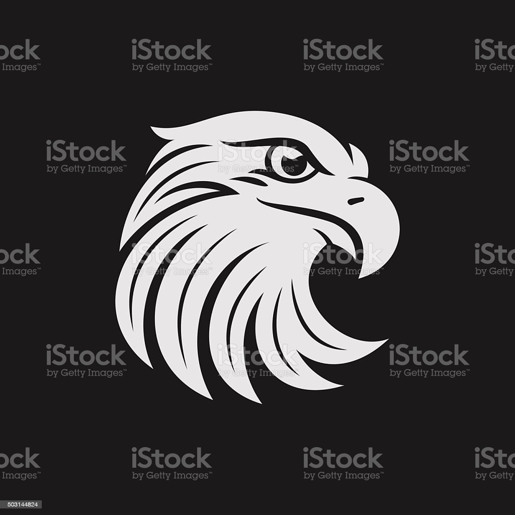 Eagle head icon in one color. Stock vector illustration. vector art illustration