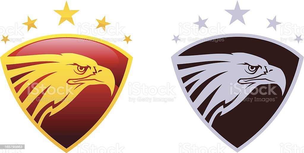 Eagle head on shield with stars royalty-free stock vector art