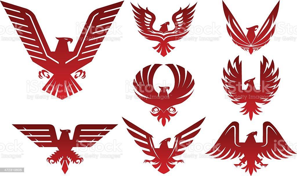 Eagle icons vector art illustration
