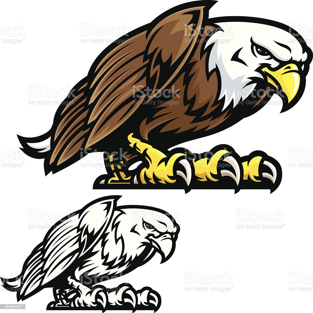 Eagle Mascot Fight Stance vector art illustration
