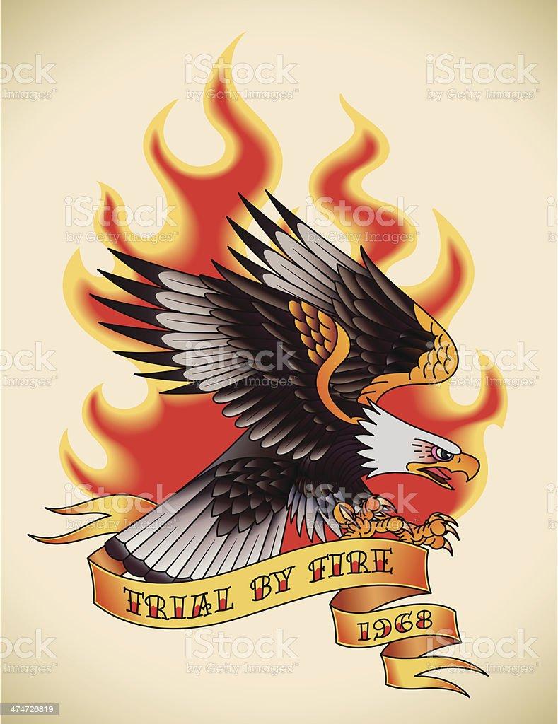 Eagle old-school tattoo royalty-free stock vector art