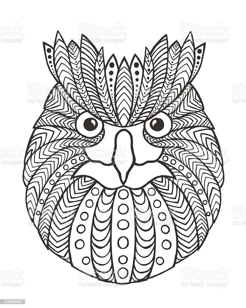 eagle owl head antistress coloring page stock vector art