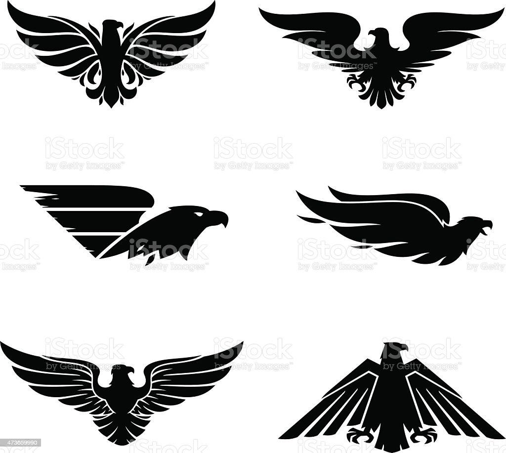 Eagle set vector art illustration