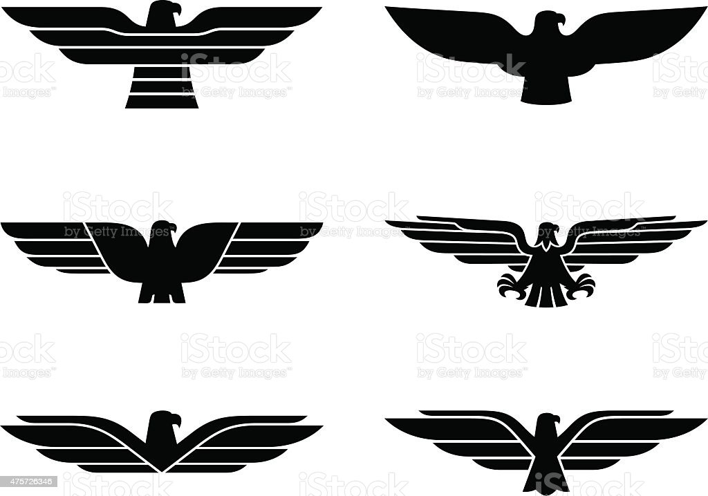 Eagle set vector art illustration