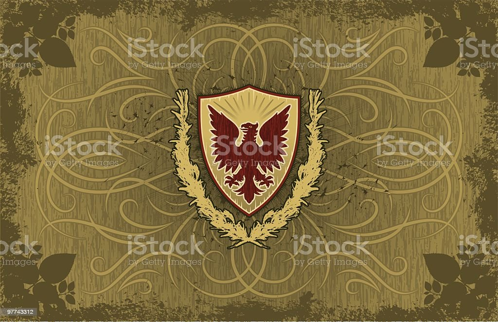 Eagle Shield Scroll Background royalty-free stock vector art