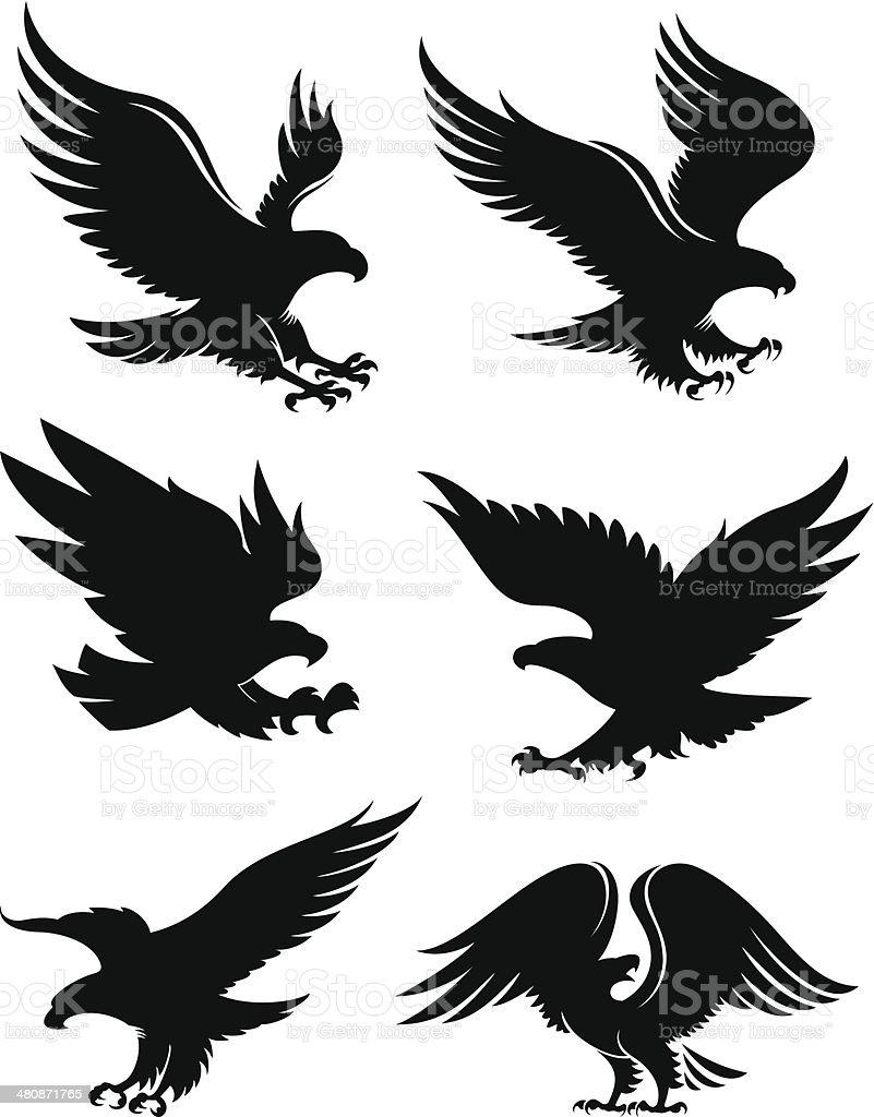 Eagle silhouettes vector art illustration