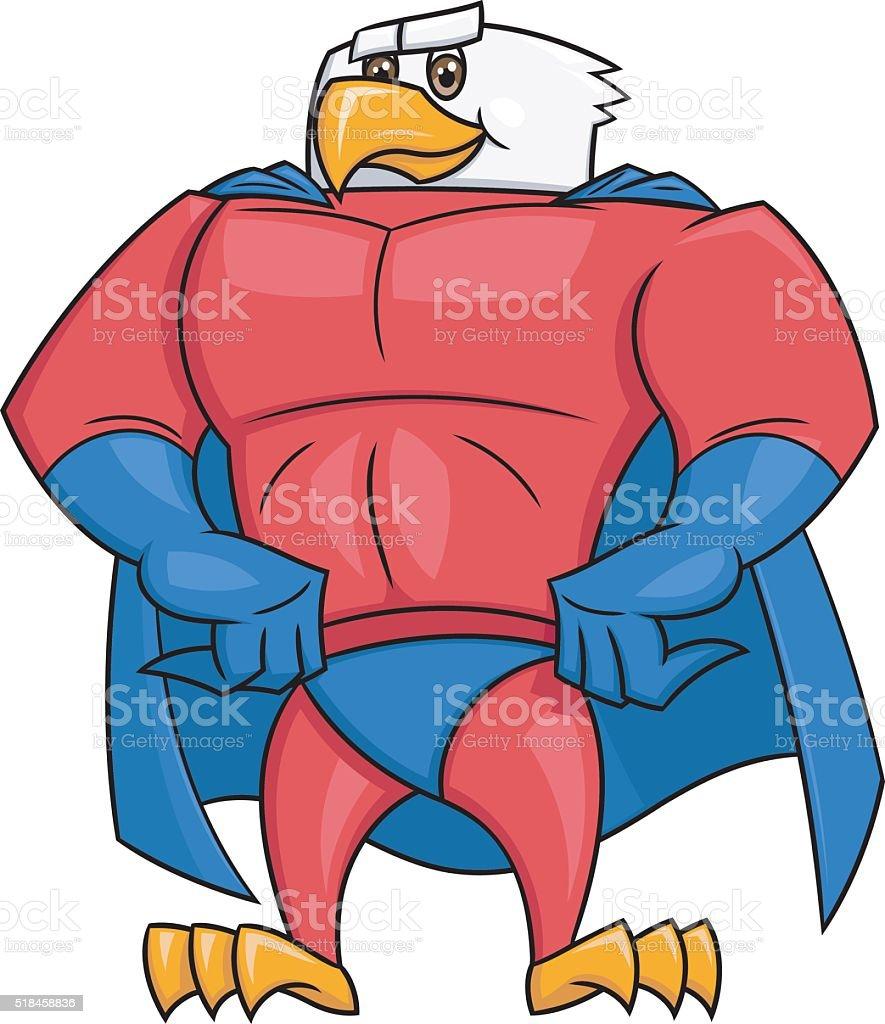 Eagle superhero posing 2 vector art illustration
