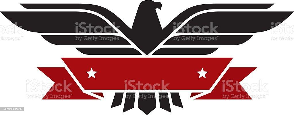 Eagle with banner vector art illustration