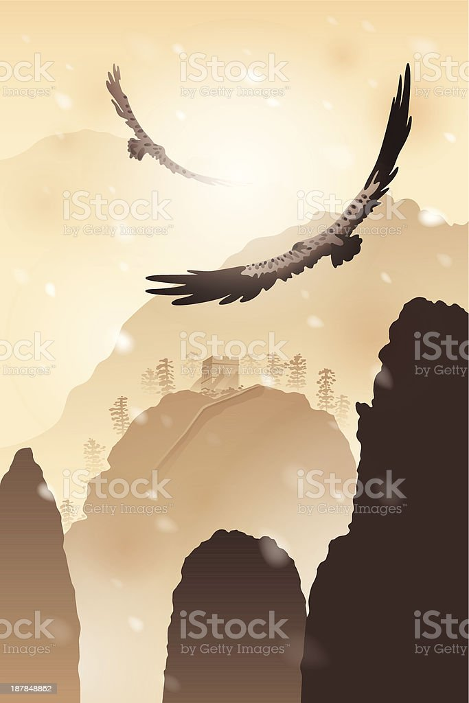 Eagles flying over mountains royalty-free stock vector art