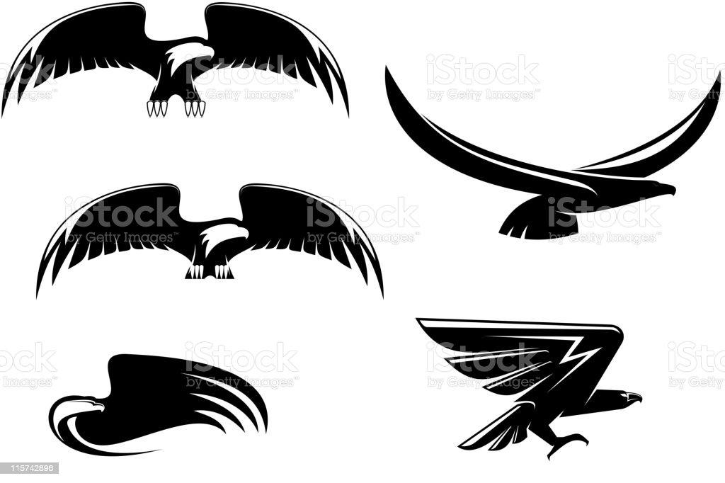 Eagles tattoos vector art illustration