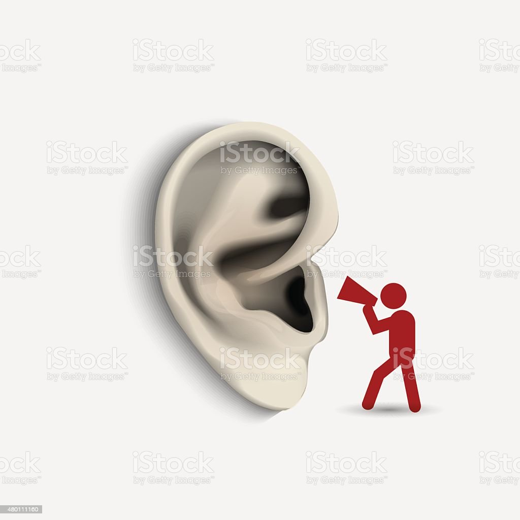 Ear and icon man with megaphone vector art illustration