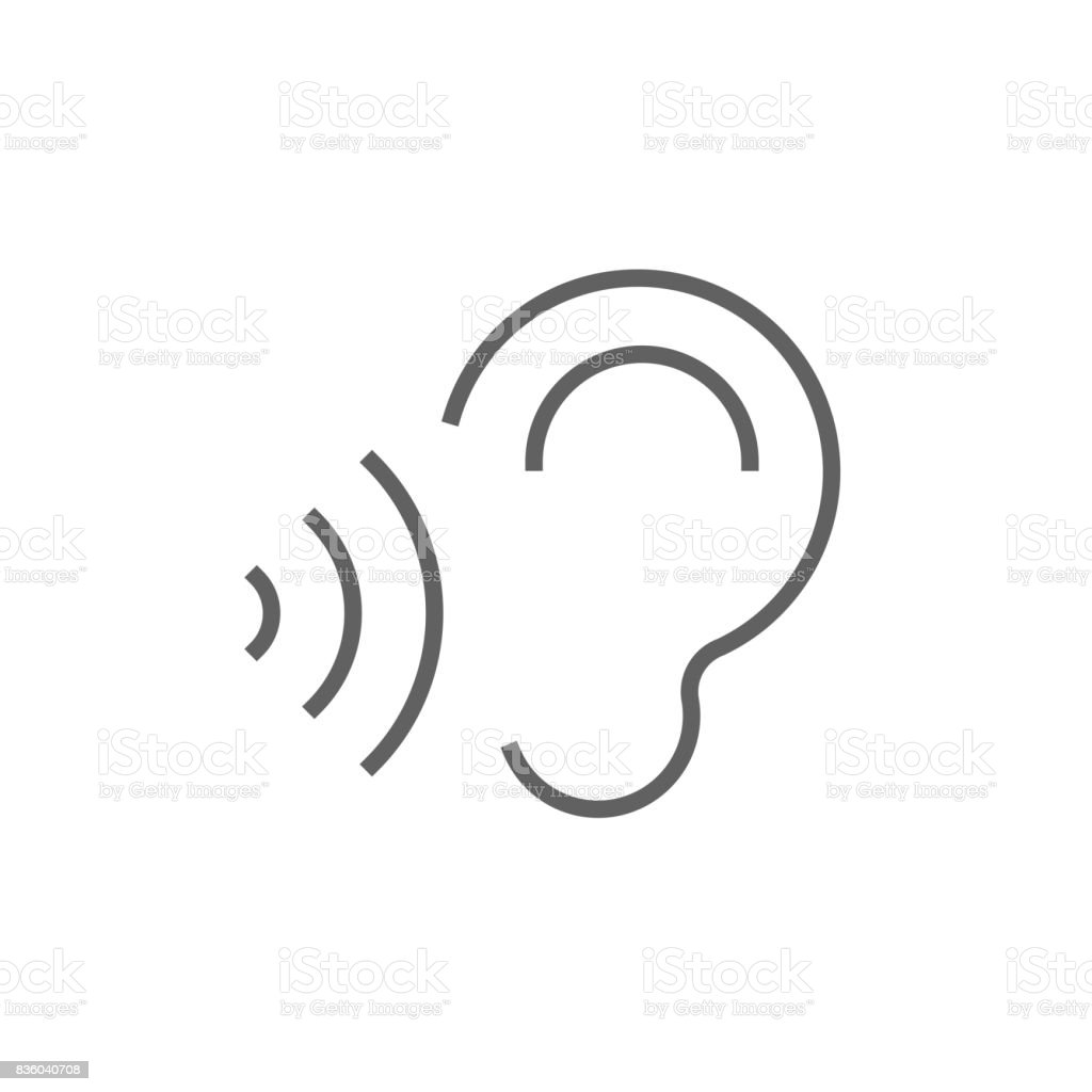 Ear and sound waves line icon vector art illustration