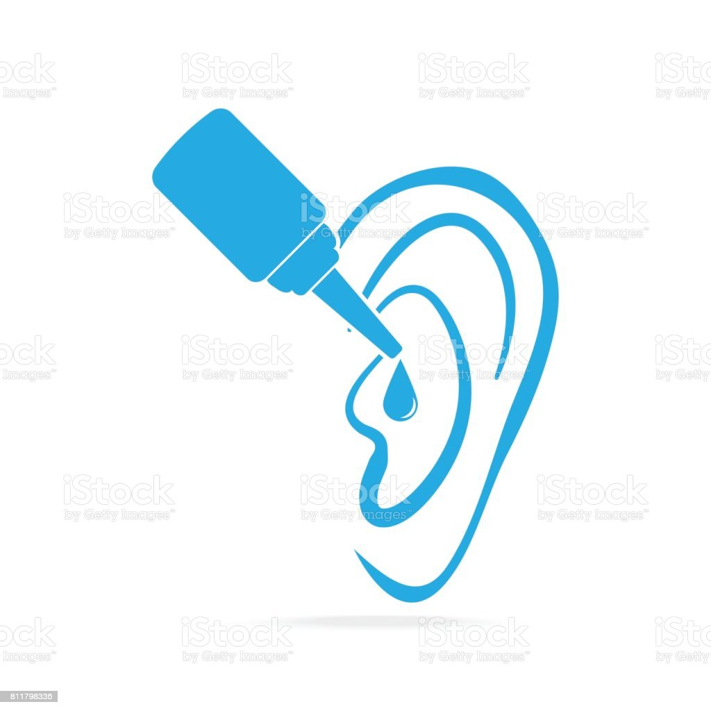 Ear drops blue icon, medical sign icon vector art illustration