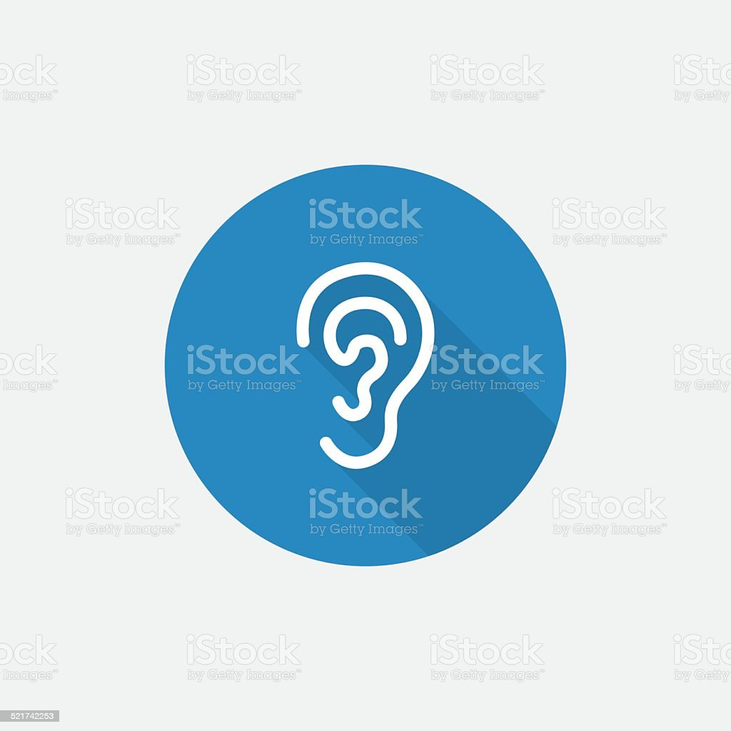 ear Flat Blue Simple Icon with long shadow vector art illustration