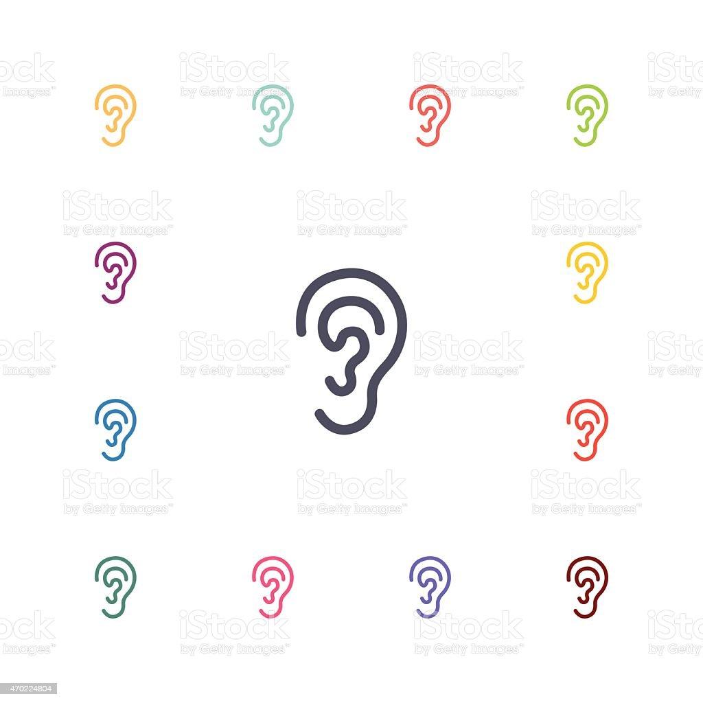ear flat icons set vector art illustration