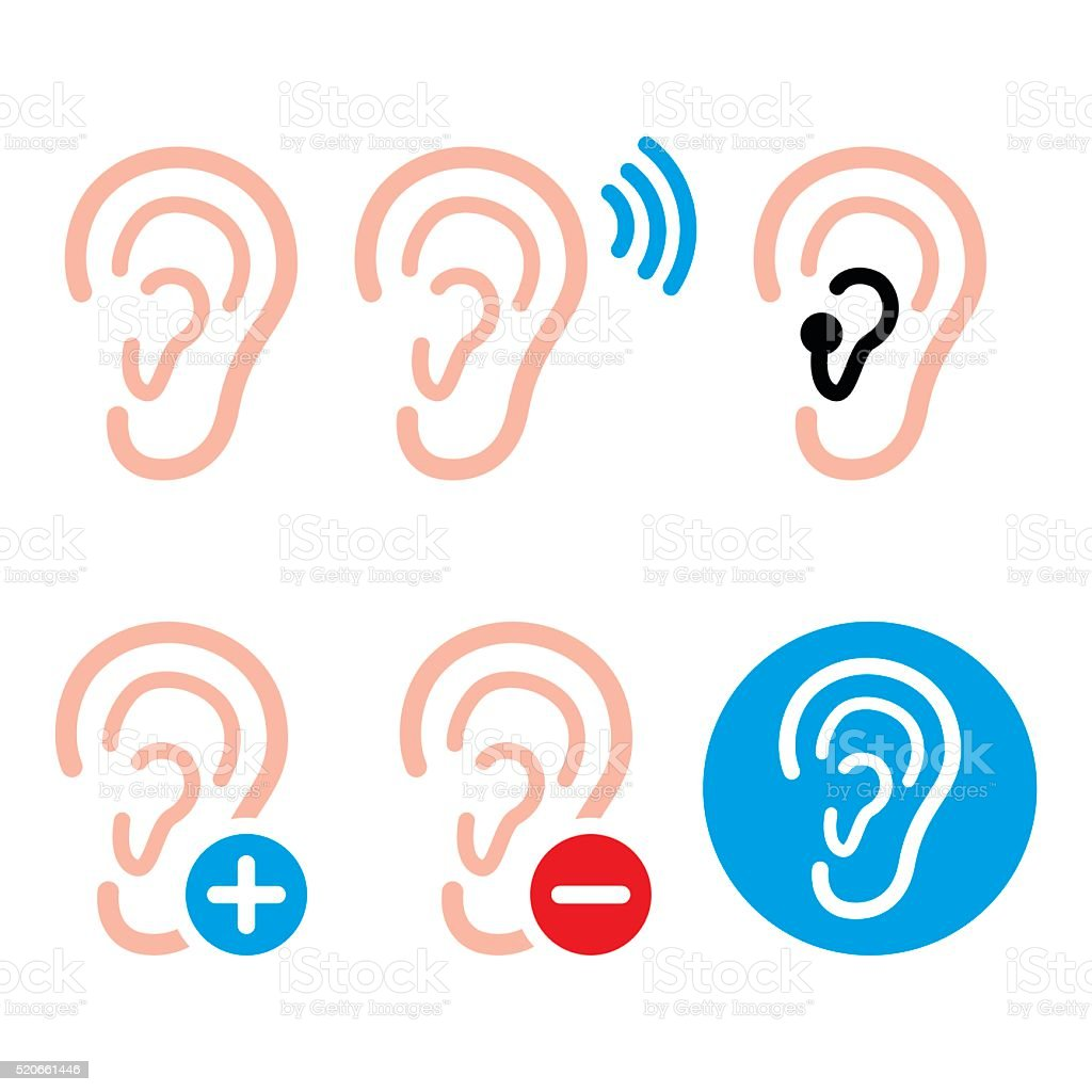Ear hearing aid, deaf person - health problem icons set vector art illustration