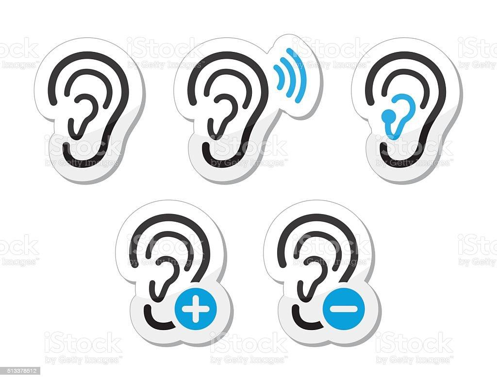 Ear hearing aid deaf problem icons set vector art illustration