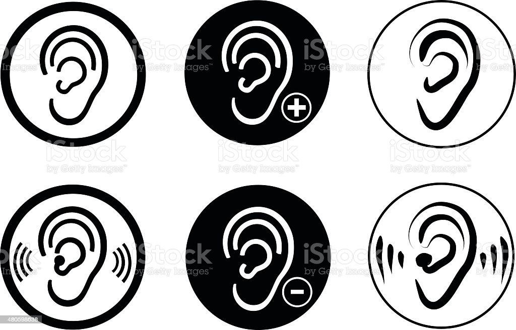 Ear hearing aid deaf problem vector art illustration
