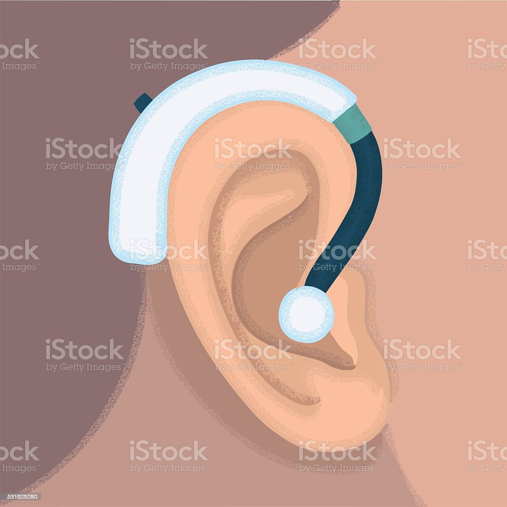 Ear hearing aid ear listen sound graphics vector art illustration
